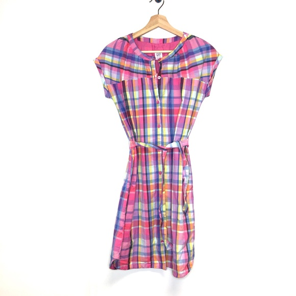 GAP Other - NWT gap kids madras plaid pink shirt dress school